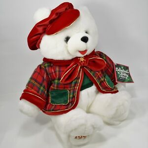 DanDee-1999-Snowflake-Teddy-Bear-Collectors-Choice-Plush-Christmas-Green-Red-Hat