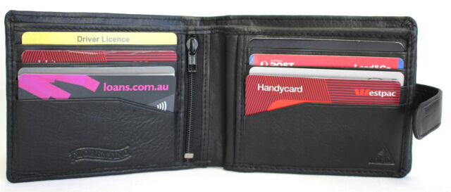 RFID Security Lined Leather Wallet Quality FullGrain Cow Hide Leather. BLK 11000