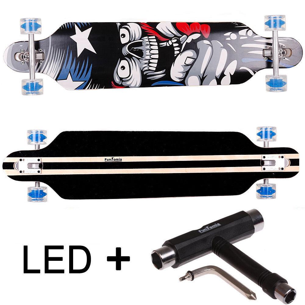 Longboard FunTomia® LED 9 Lagen Ahornholz - Freerider Cruiser Skate Board 2118