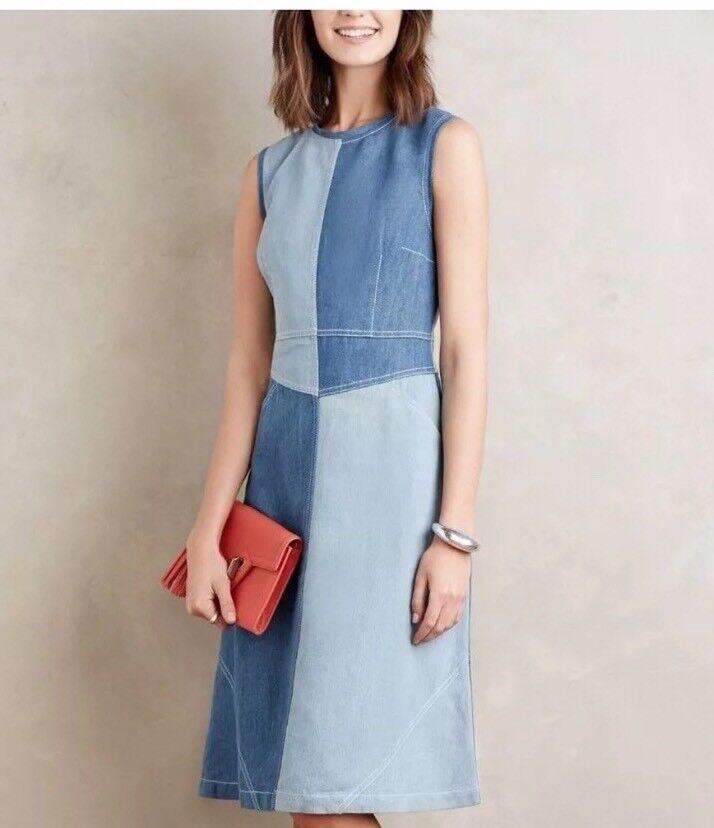 Holding Horses Anthropologie Pieced Denim Dress Sleeveless bluee Womens Womens Womens 8 Medium 924004