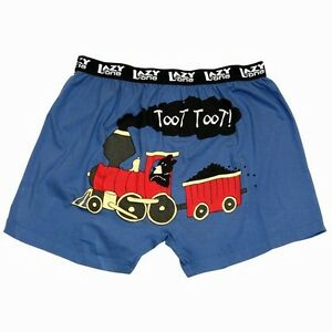 Lazy One Children Boxer Shorts Boys Boxers Bear Train Toot Toot Blue Black