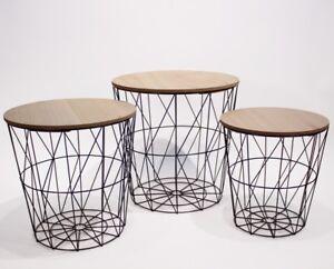 3er Set Design Beistelltisch Couchtisch Ablage Tisch Schwarz Holz