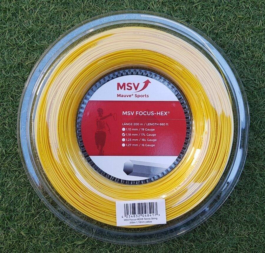 MSV Tennis string FOCUS HEX (1.18mm 17L) 200meter Reel (NEW, GENUINE)