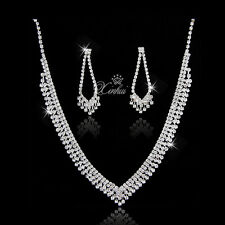 Fashion European Style Bridal Wedding Crystal Necklace Earring Jewelry Sets