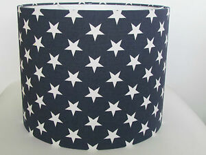 New handmade navy blue white star nursery boys 20cm 30cm lampshade image is loading new handmade navy blue white star nursery boys aloadofball Gallery