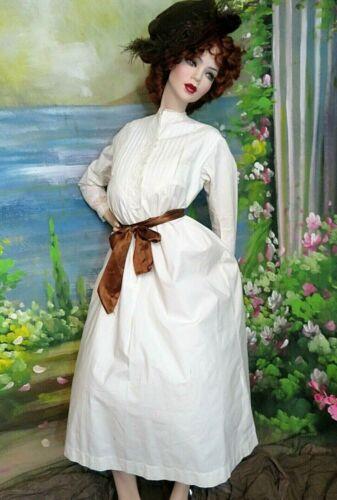 ANTIQUE Victorian Edwardian DRESS night GOWN linen