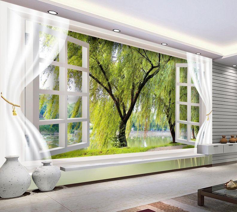 3D Lac De Saules 67 Photo Papier Peint en Autocollant Murale Plafond Chambre Art