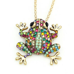 Betsey-Johnson-Colorful-Crystal-Frog-Charm-Pendant-Chain-Necklace-Brooch-Pin