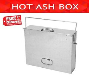 Hot Ash Box Carrier Lid Fireplace Bucket Tidy Bin Metal Container Transporter 689849521367