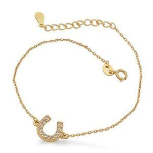 Das Bild wird geladen Gluecksbringer-Hufeisen-Armband-Silberarmband-925- Silber-14K-vergoldet dc5682e357