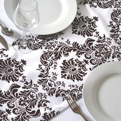 Black /& White Flock Damask Table Runner