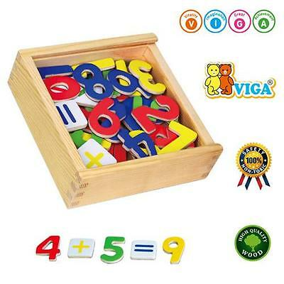 Childrens Wooden Magnetic Fridge Numbers 37 Pieces & Maths Learning Wood Toy