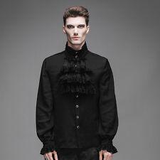 New Mens Shirt Top Black Gothic Steampunk Fashion Victorian Regency Aristocrat