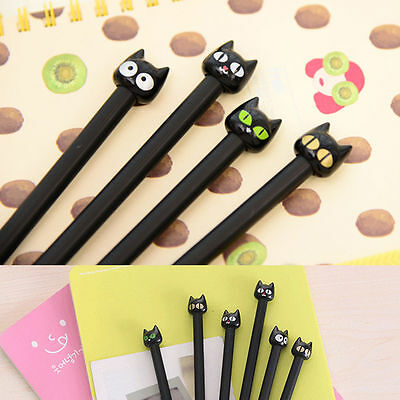 4PCS Kawaii Cute Black Cat Gel Ink Pen 0.5mm Office Stationery School Supplies