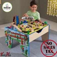 48-Piece Wooden Train Set Children Activity Table Waterfall Kids Toy Round Town