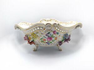 "Antique Carl Thieme Dresden Hand Painted Flowers Gold Trim Centerpiece Bowl, 16"""