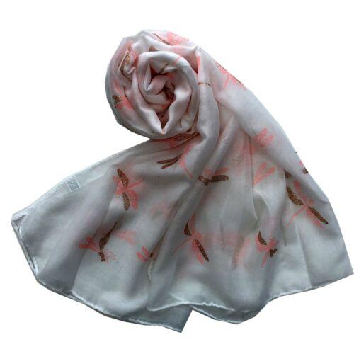 Dragonfly Scarf  Metallic Fashion Ladies Woman Soft  Scarves Foil Shawl