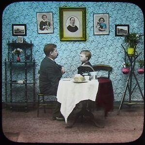 HAND-COLOURED-Glass-Magic-Lantern-Slide-DADDY-NO1-C1890-VICTORIAN-STORY-BOY