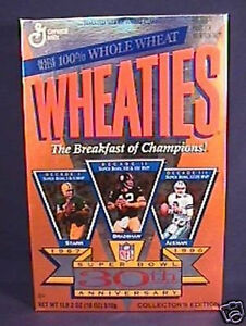 1966 - 1996 30th Anniversary Super Bowl Wheaties Box