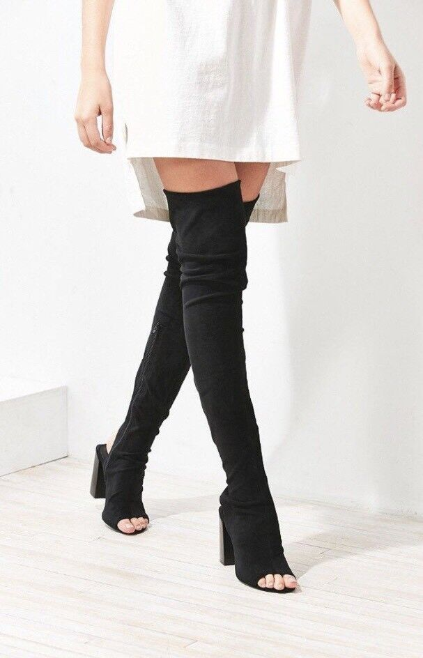 Jeffrey Campbell Capricorn Over the Knee Faux Suede Thigh High Peep Toe 7.5