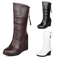 Faux Leather Womens Shoes Block Heeled Wedges Boots Size 9 10 11 12 13 15 16