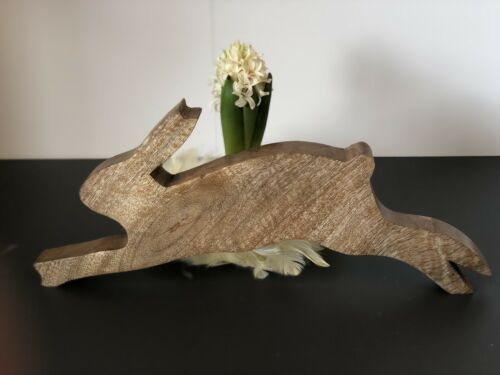 Easter BUNNY WOOD Rabbit Length 30cm Deco Easter Decoration Easter Wooden Bunny Nature