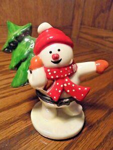 Vintage Ceramic Christmas Snowman Hinged Trinket Box Tree Red Scarf & Hat    123