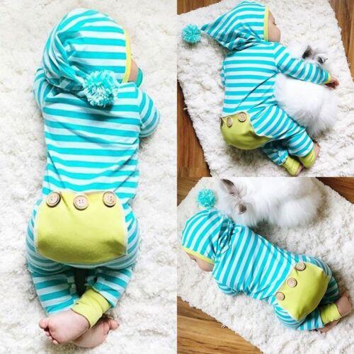 Bébé Garçon Fille Vêtements à manches longues rayé à capuche ange Combinaison Tenues