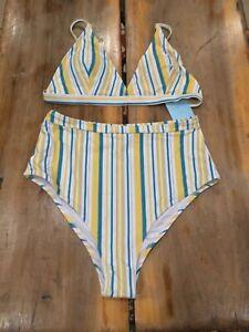 Mediana Top Título De Y Acerca Mostrar Cupshe Detalles Talla Alta A La Original Blanco Bikini Azul Rayas Triángulo Cintura Amarillo 0wOknP