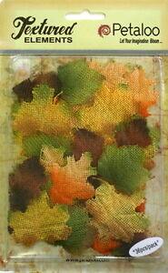 BURLAP-Jute-Fabric-FALL-Colours-Mix-36-LEAVES-Approx-3-x-4cm-Petaloo-5001-300