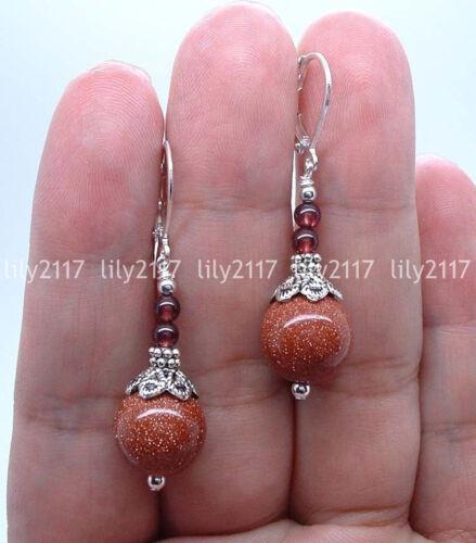 Naturel 10 mm Or Grès /& Garnet Round Gems Silver Dangle Leverback Boucles D/'oreilles