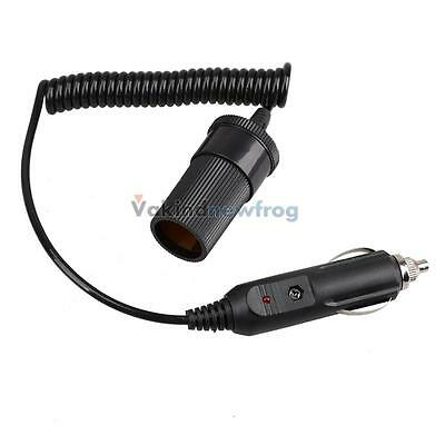 V1NF Portable Black 12V Car Cigarette Lighter Extension Cable Socket Cord 4ft