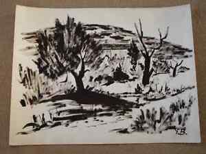 Grande-gouache-paysage-provence-monogramee-YB-circa-1970-dans-le-gout-de-Brayer