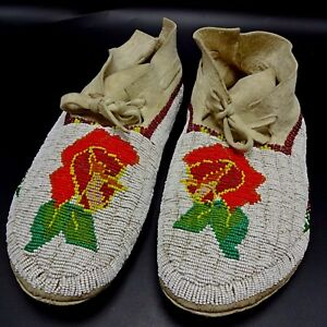 MUSEUM-QUALITY-Vintage-Native-American-1950s-SHOSHONE-Beaded-WEDDING-MOCCASINS