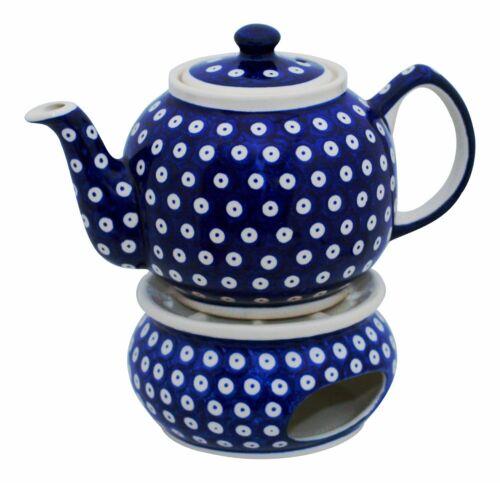 Original Bunzlauer Keramik Teekanne 1.0 Liter Stövchen im Dekor 42