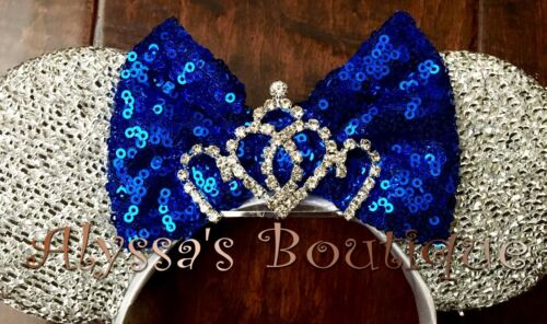 ** Minnie Mouse Ears Headband Silver With Glittery Blue Bow Tiara Birthday Party