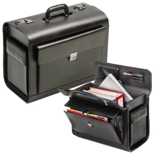 Pilotenkoffer Echt Leder Schwarz mit Notebookfach Zahlenschloss Koffer XL