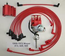 MOPAR 413-426-440 Red SMALL Cap HEI Distributor, 50K COIL & Spark Plug Wires USA