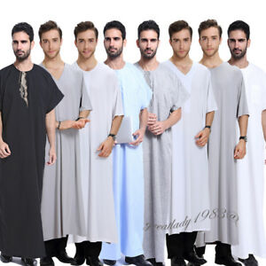 20386231969f Image is loading Muslim-Mens-Dishdasha-Thobe-Islamic-Short-Sleeve-Robe-