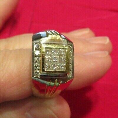 14 K Solid Gold Zweifarbig Herren Diamantring Size 12 16.3 Gr Husten Heilen Und Auswurf Erleichtern Und Heiserkeit Lindern