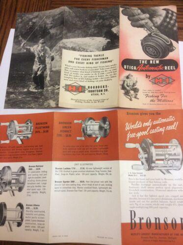 vintage fishing advertisement bronson reels utica reels NOS