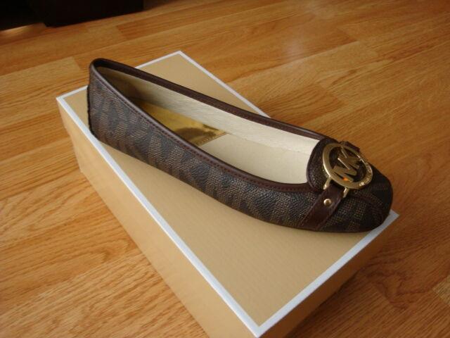 d833a2aaf4f5d Michael Kors Fulton MOC Black 8 Leather MK Logo Ballet Flat Shoe Jex381 for  sale online