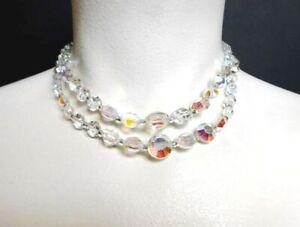 Vintage Aurora Borealis Crystal 2 Strand 14 Choker Necklace