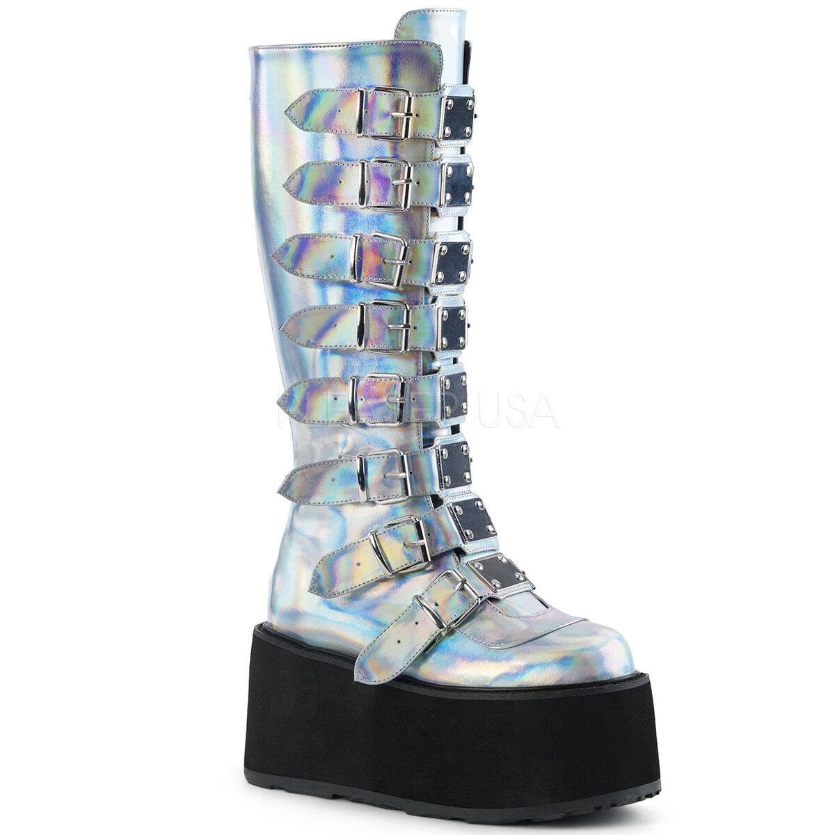 Demonia 3.5  Platform Damned Silver Hologram Buckle Knee Boots 6 7 8 9 10 11 12