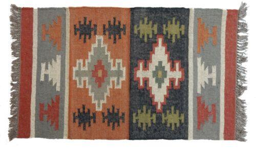 Indian Floor Mat Rug Kilim Wool Jute Carpet 2.5x4/' Rustic Dhurrie Throw Dari
