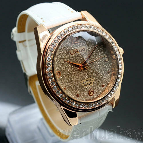 New Round Dial Crystal Leather Band Quartz Wrist Watch Women Lady Gifts Q1122