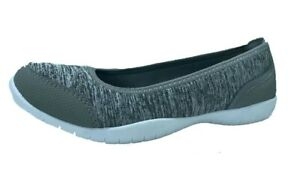 7af83a136 Athletic Works Women s Memory Foam Gray Athletic Ballet Flat Shoes ...