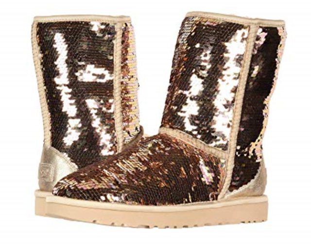 4cfdf154233b UGG Classic Short Gold Sequin Sparkle Sheepwool BOOTS Women US 7 ...