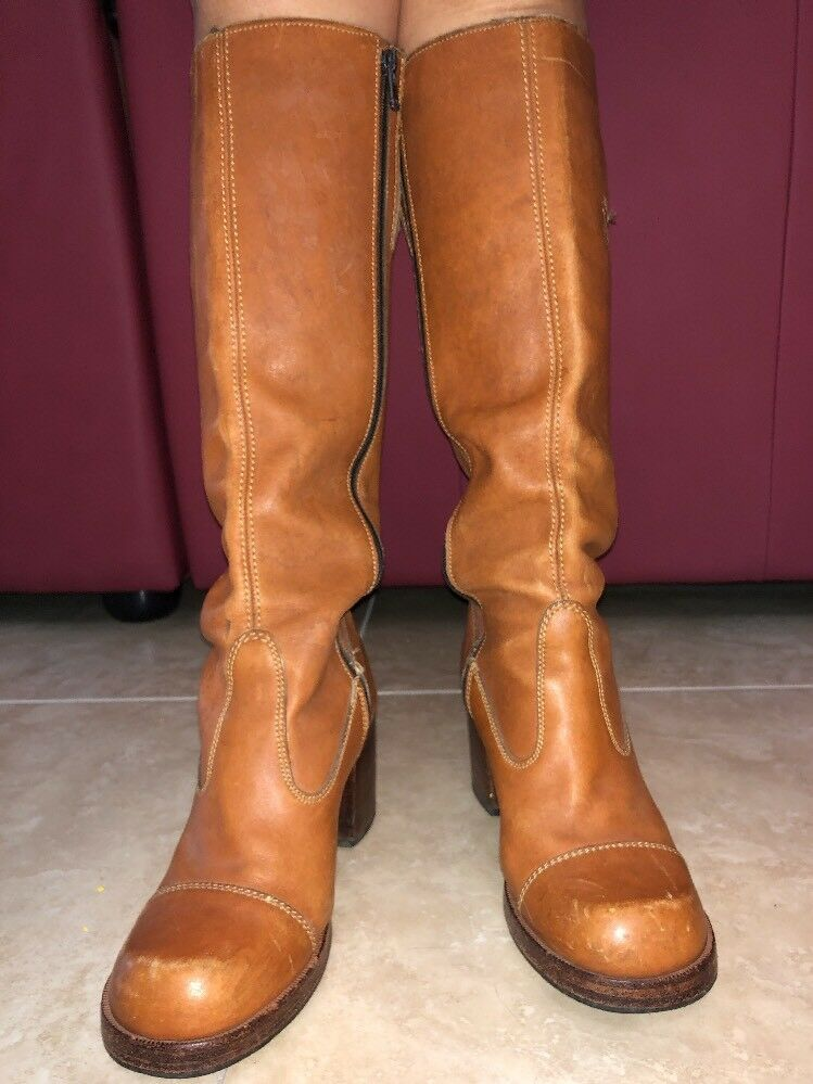Adventure III Tan Genuine Knee High Leather Boots Sz 9
