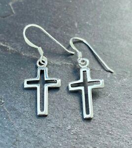 Kreuz Ohrringe 925 Sterling Silber Schmuck Ohrhänger Neu Silver Cross Earrings